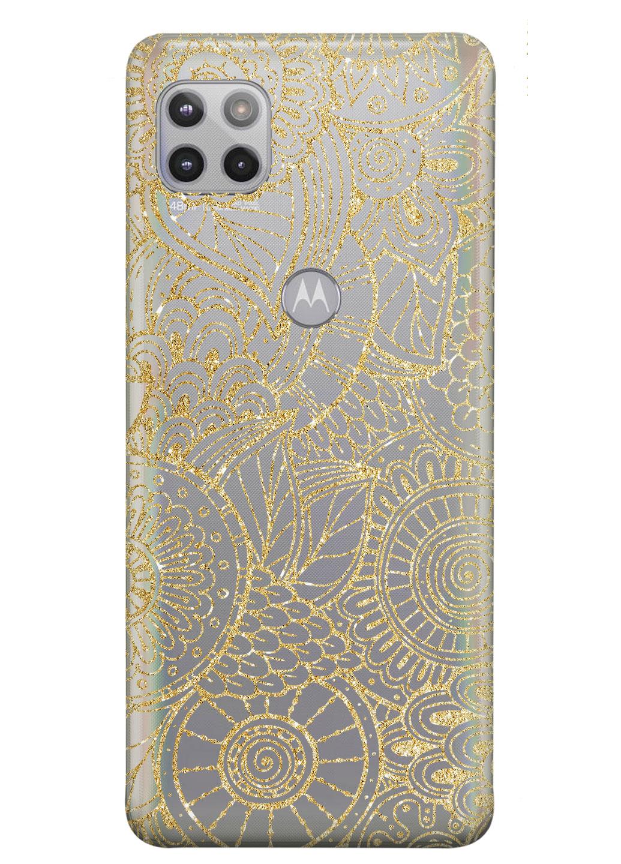 Прозрачный силиконовый чехол iSwag для Motorola Moto G 5G с рисунком - Золотая мандала (KS8982)