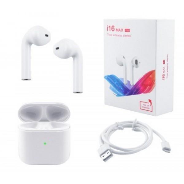 Беспроводные СЕНСОРНЫЕ Bluetooth наушники HBQ I16 MAX V5.0 TWS PROFESSIONAL с кейсом White блютуз наушники для apple ( айфон ) и андроид